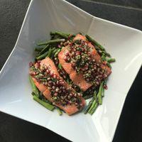 Pomegranate Salmon with Asparagus