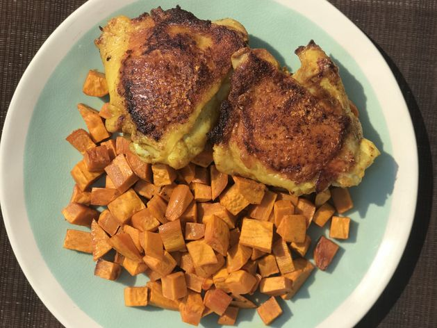 Turmeric Chicken with Sweet Potatoes wide display