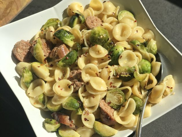 Pasta with Sausage and Brussels Sprouts wide display