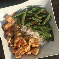 Honey Sriracha Tofu and Snap Peas