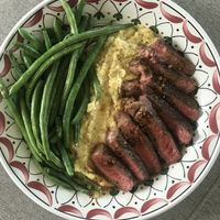 Steak with Ginger Butter Sauce and Green Beans