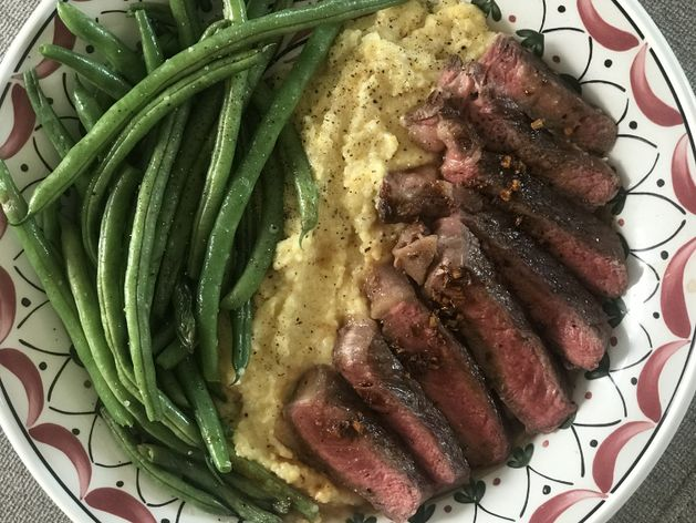 Steak with Ginger Butter Sauce and Green Beans wide display