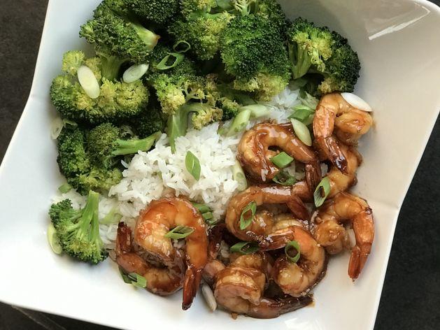 Honey Garlic Shrimp and Broccoli wide display