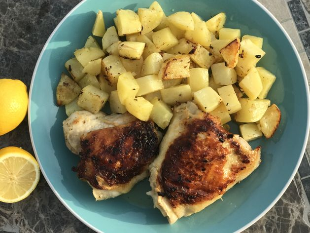 Greek Lemon Chicken and Potatoes wide display