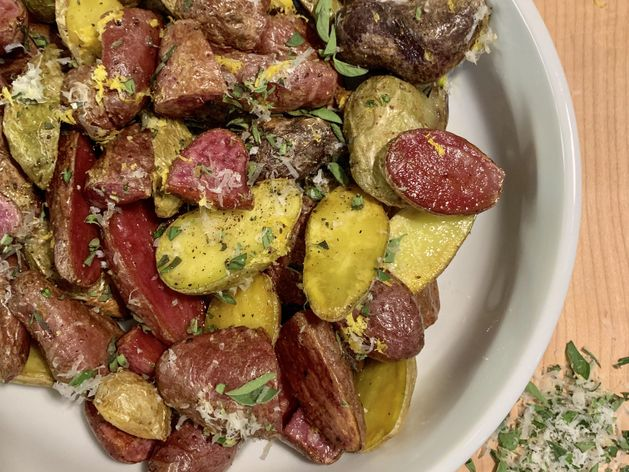 Fingerling Potatoes with Oregano, Parmesan, + Lemon wide display