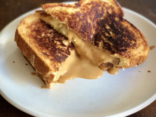 Grilled Peanut Butter & Banana Cinnamon Toast Sandwiches wide display