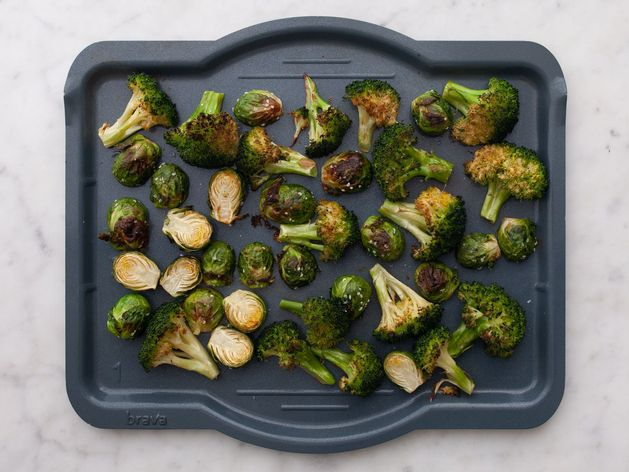 Broccoli and Brussels Sprouts wide display