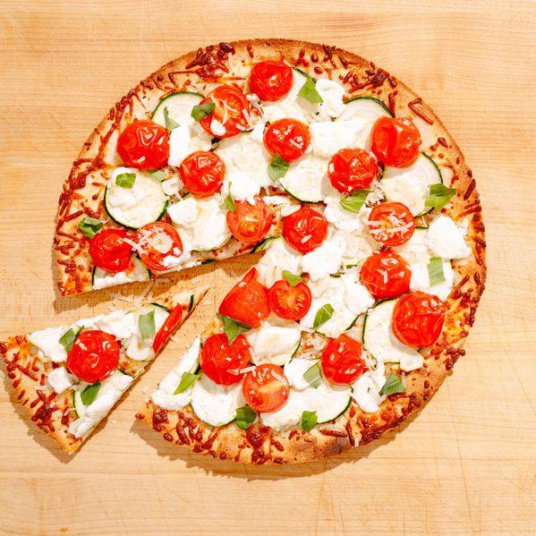 Zucchini, Tomato, and Goat Cheese Pizza narrow display