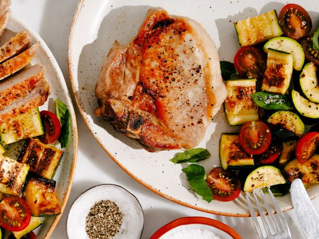 Pork Chop with Zucchini and Cherry Tomatoes wide display