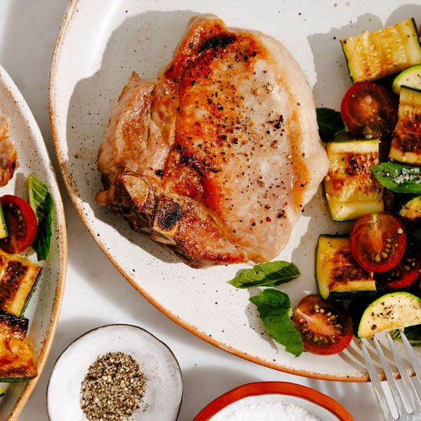 Pork Chop with Zucchini and Cherry Tomatoes narrow display