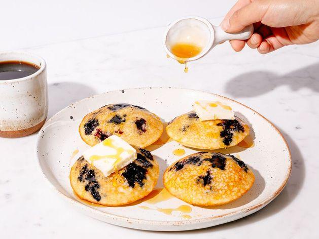 Greek Yogurt and Blueberry Mini Pancake Muffins wide display