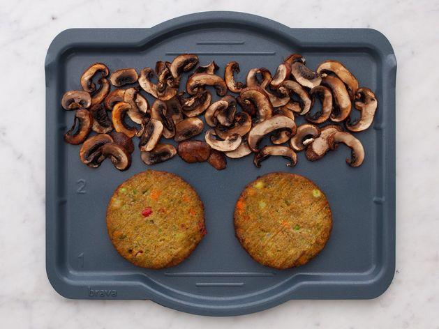 Frozen Veggie Burgers and Mushrooms wide display