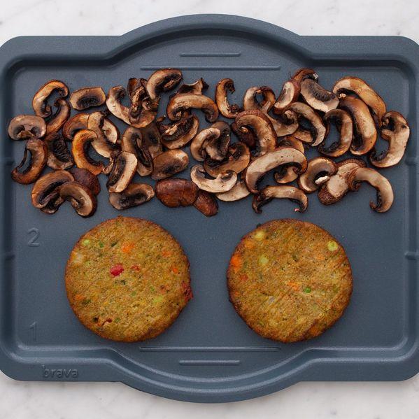 Frozen Veggie Burgers and Mushrooms narrow display