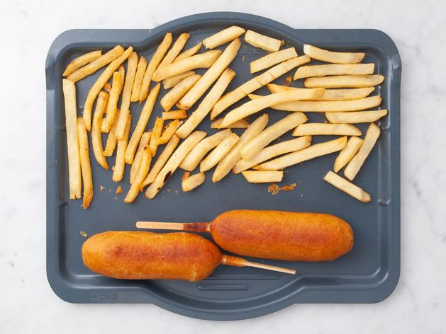 Frozen Corn Dogs and Frozen French Fries wide display
