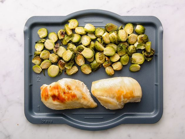 Chicken Breasts and Brussels Sprouts wide display