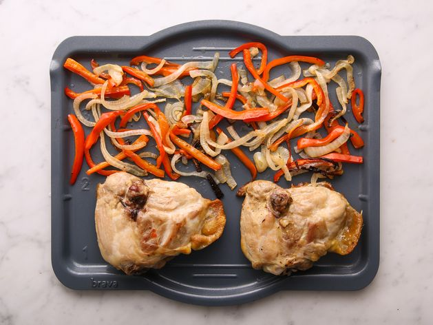 Chicken Thighs (Bone-In and Skin-On) with Onions and Peppers wide display