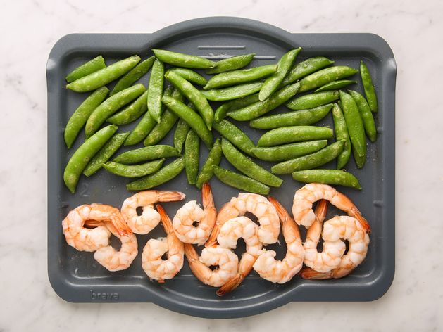 Shrimp and Snap Peas wide display