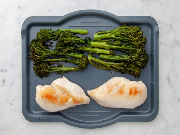 Chicken Breasts and Baby Broccoli wide display