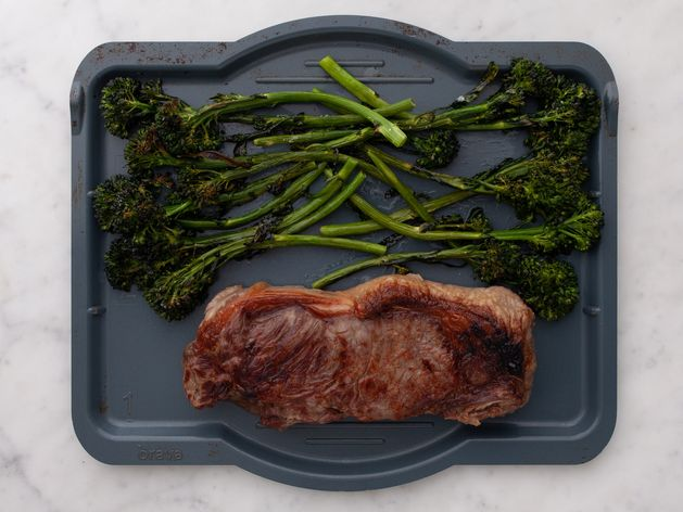 NY Strip Steak and Baby Broccoli wide display