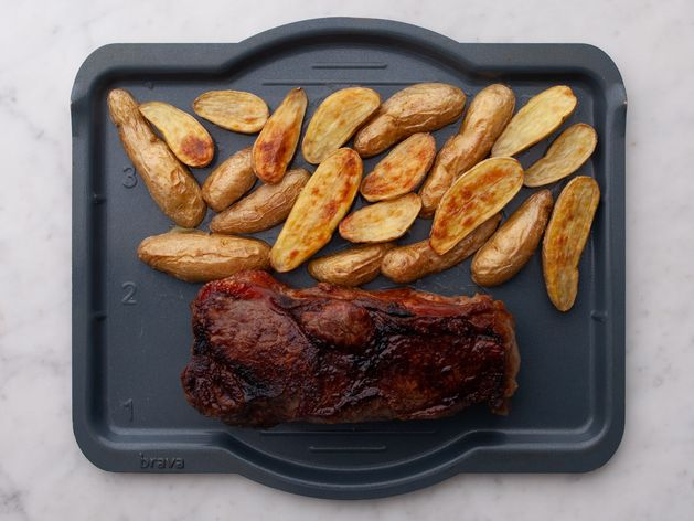 NY Strip Steak and Fingerling Potatoes wide display