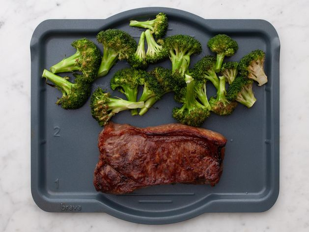 NY Strip Steak and Broccoli wide display