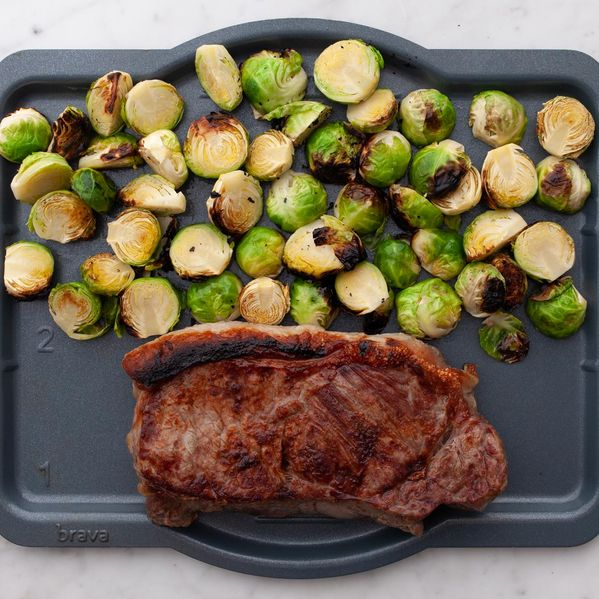 NY Strip Steak and Brussels Sprouts narrow display