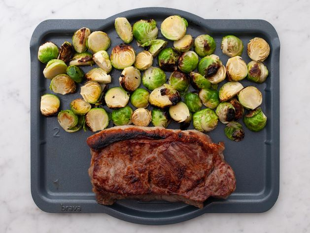NY Strip Steak and Brussels Sprouts wide display
