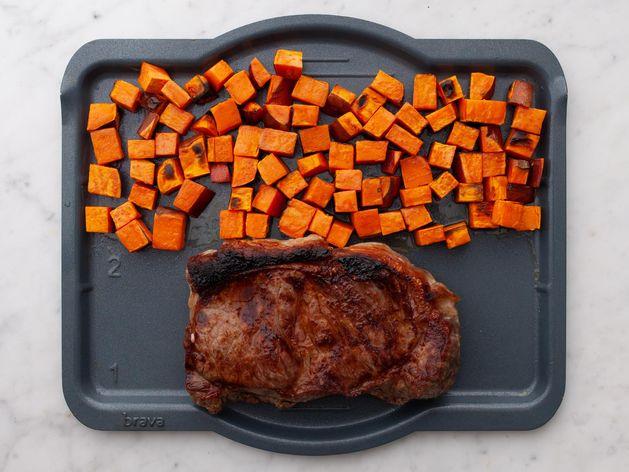NY Strip Steak and Sweet Potatoes wide display