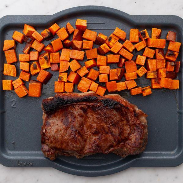 NY Strip Steak and Sweet Potatoes narrow display