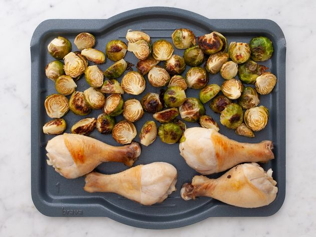 Chicken Drumsticks and Brussels Sprouts wide display