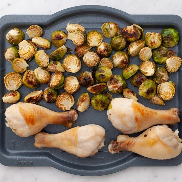 Chicken Drumsticks and Brussels Sprouts narrow display