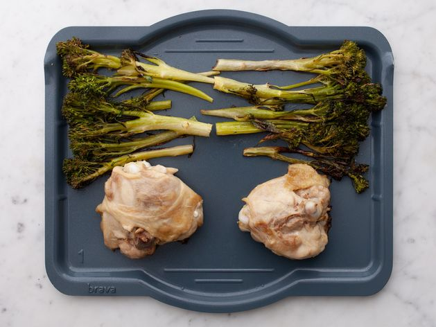 Chicken Thighs and Baby Broccoli wide display