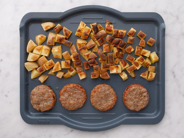 Frozen Sausage Patties and Potatoes wide display