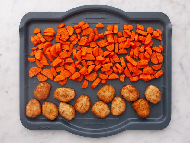 Chicken Nuggets and Carrots wide display