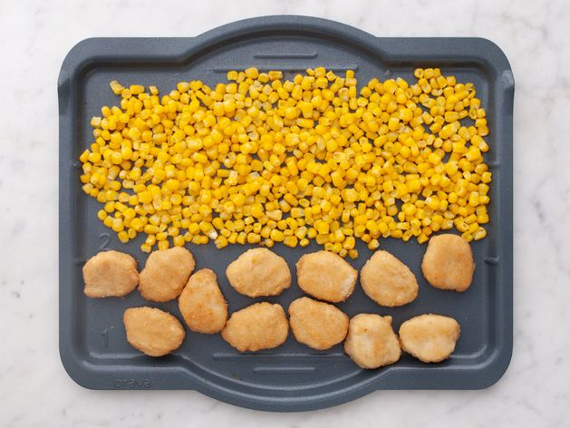 Chicken Nuggets and Frozen Corn wide display