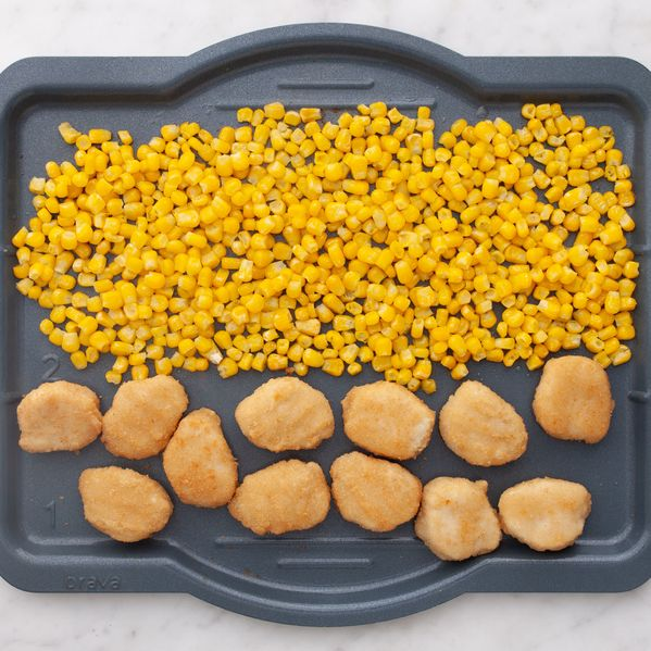 Chicken Nuggets and Frozen Corn narrow display