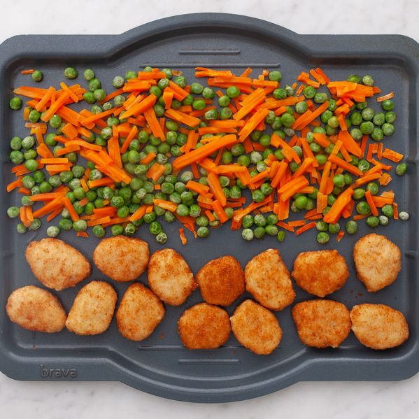 Chicken Nuggets with Peas and Carrots narrow display