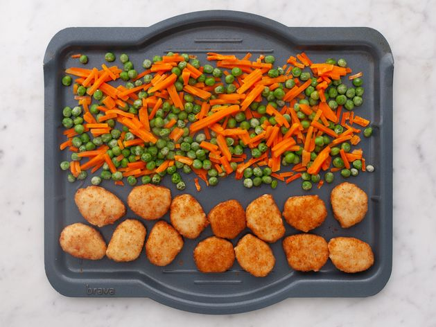 Chicken Nuggets with Peas and Carrots wide display