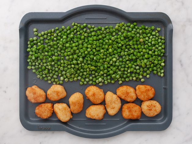 Chicken Nuggets and Frozen Peas wide display