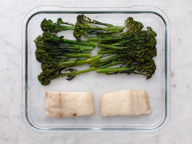 Halibut and Baby Broccoli wide display