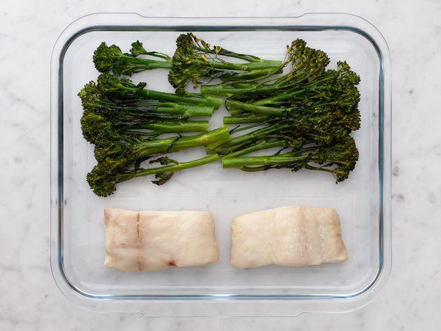 Halibut and Baby Broccoli wide display