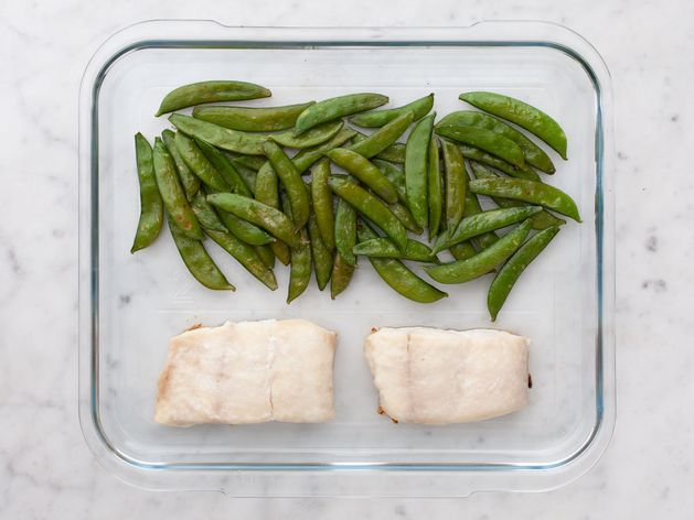 Halibut and Snap Peas wide display