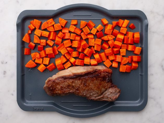 NY Strip Steak and Carrots wide display