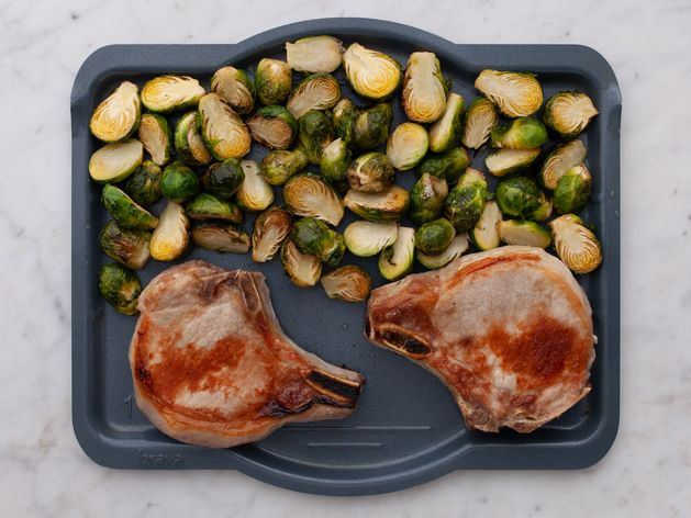 Pork Chops (Bone-In) and Brussels Sprouts wide display