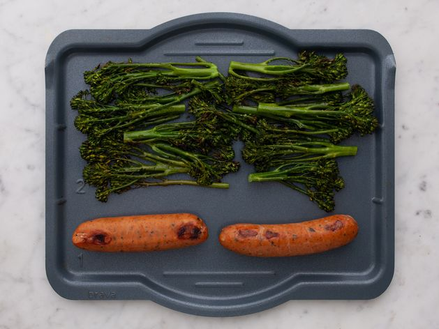 Precooked Sausages and Baby Broccoli wide display