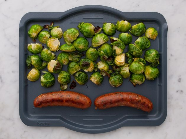 Precooked Sausages and Brussels Sprouts wide display