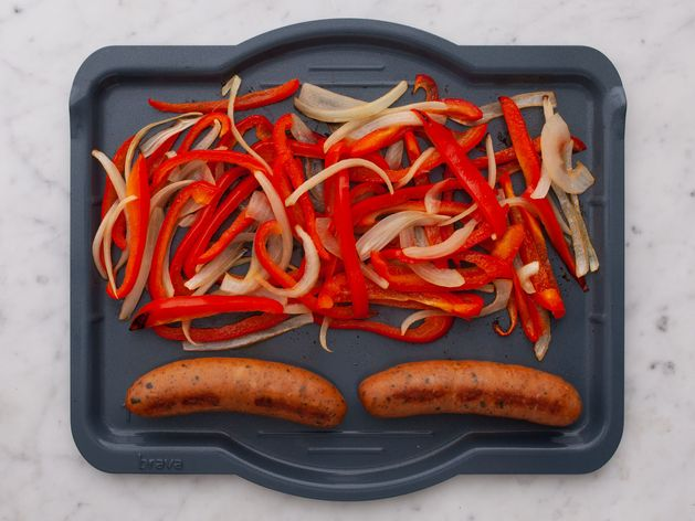 Precooked Sausages with Onions and Peppers wide display