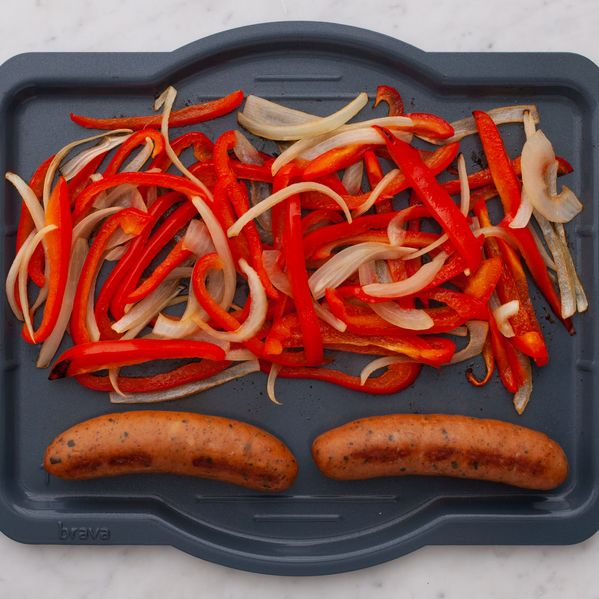Precooked Sausages with Onions and Peppers narrow display