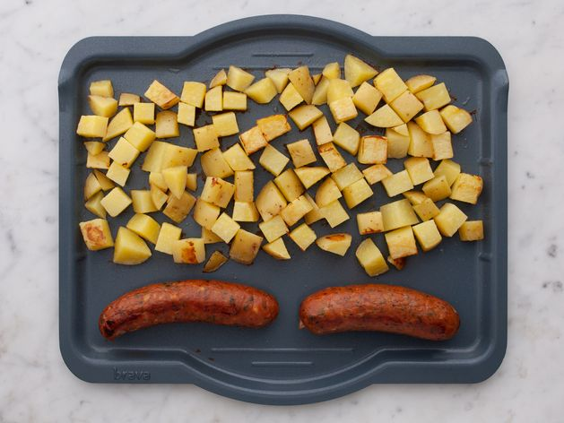Precooked Sausages and Potatoes wide display