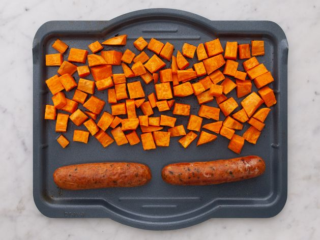 Precooked Sausages and Sweet Potatoes wide display